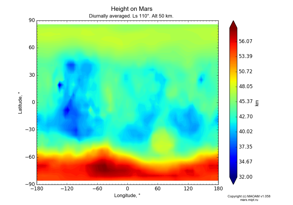 Height on Mars dependence from Longitude -180-180° and Latitude -90-90° in Equirectangular (default) projection with Diurnally averaged, Ls 110°, Alt 50 km. In version 1.058: Limited height with water cycle, weak diffusion and dust bimodal distribution.