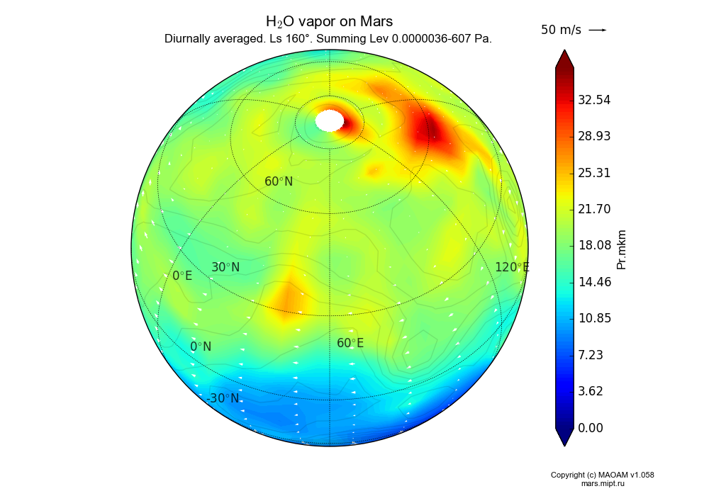 Water vapor on Mars dependence from Longitude -180-180° and Latitude -90-90° in Spherical stereographic projection with Diurnally averaged, Ls 160°, Summing Lev 0.0000036-607 Pa. In version 1.058: Limited height with water cycle, weak diffusion and dust bimodal distribution.