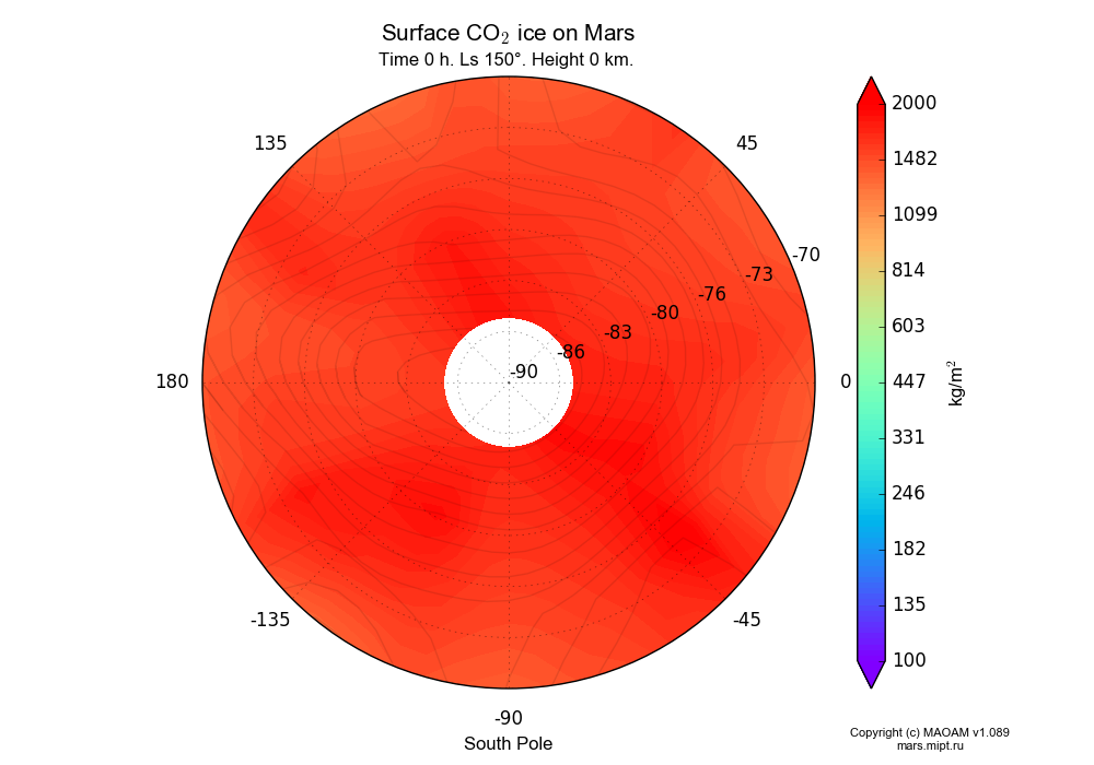 Surface CO2 ice on Mars dependence from Longitude -180-180° and Latitude -90--70° in South polar stereographic projection with Time 0 h, Ls 150°, Height 0 km. In version 1.089: Water cycle WITH molecular diffusion, CO2 cycle, dust bimodal distribution and GW.