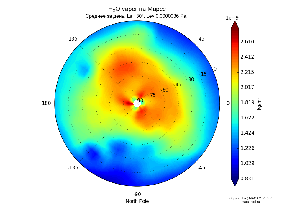 Water vapor on Mars dependence from Longitude -180-180° and Latitude 0-90° in North polar stereographic projection with Diurnally averaged, Ls 130°, Height 0.0000036 Pa. In version 1.058: Limited height with water cycle, weak diffusion and dust bimodal distribution.