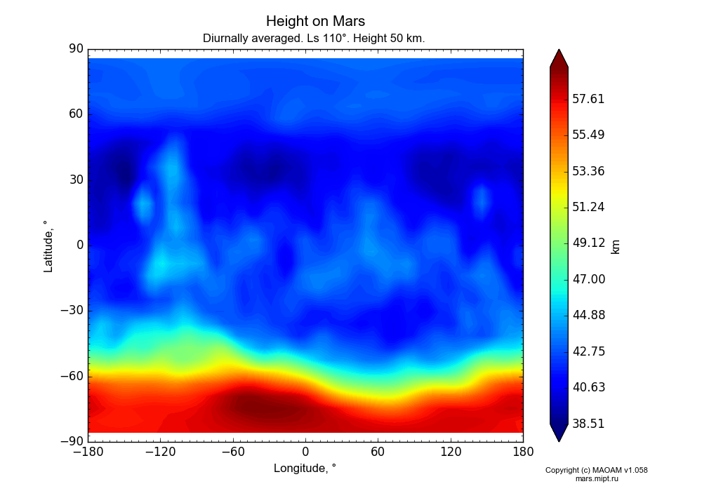 Height on Mars dependence from Longitude -180-180° and Latitude -90-90° in Equirectangular (default) projection with Diurnally averaged, Ls 110°, Height 50 km. In version 1.058: Limited height with water cycle, weak diffusion and dust bimodal distribution.
