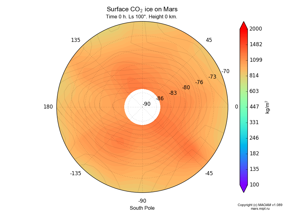 Surface CO2 ice on Mars dependence from Longitude -180-180° and Latitude -90--70° in South polar stereographic projection with Time 0 h, Ls 100°, Height 0 km. In version 1.089: Water cycle WITH molecular diffusion, CO2 cycle, dust bimodal distribution and GW.