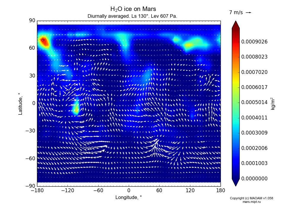 Water ice on Mars dependence from Longitude -180-180° and Latitude -90-90° in Equirectangular (default) projection with Diurnally averaged, Ls 130°, Pre 607 Pa. In version 1.058: Limited height with water cycle, weak diffusion and dust bimodal distribution.