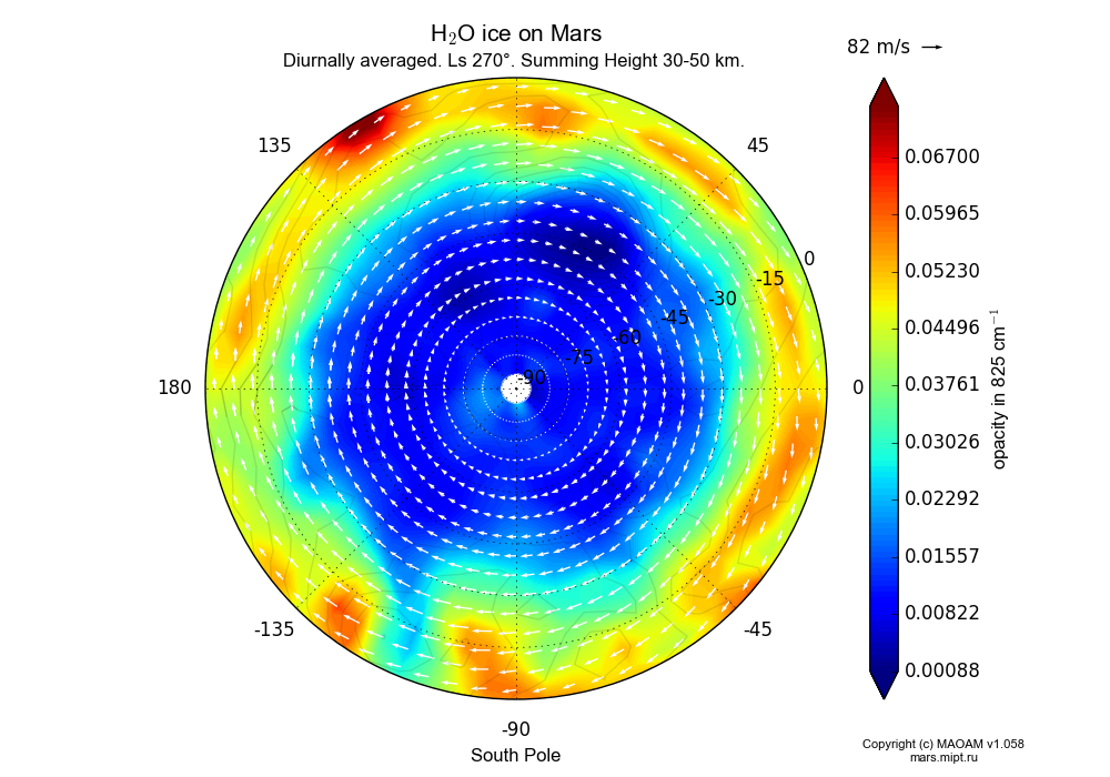 Water ice on Mars dependence from Longitude -180-180° and Latitude -90-0° in South polar stereographic projection with Diurnally averaged, Ls 270°, Summing Height 30-50 km. In version 1.058: Limited height with water cycle, weak diffusion and dust bimodal distribution.