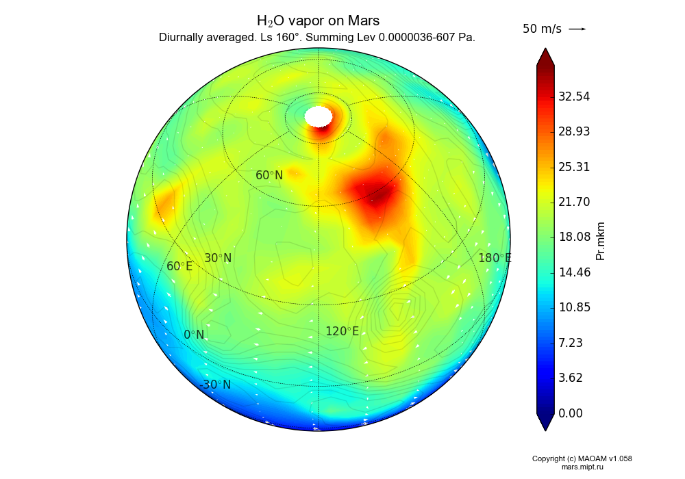 Water vapor on Mars dependence from Longitude -180-180° and Latitude -90-90° in Spherical stereographic projection with Diurnally averaged, Ls 160°, Summing Height 0.0000036-607 Pa. In version 1.058: Limited height with water cycle, weak diffusion and dust bimodal distribution.