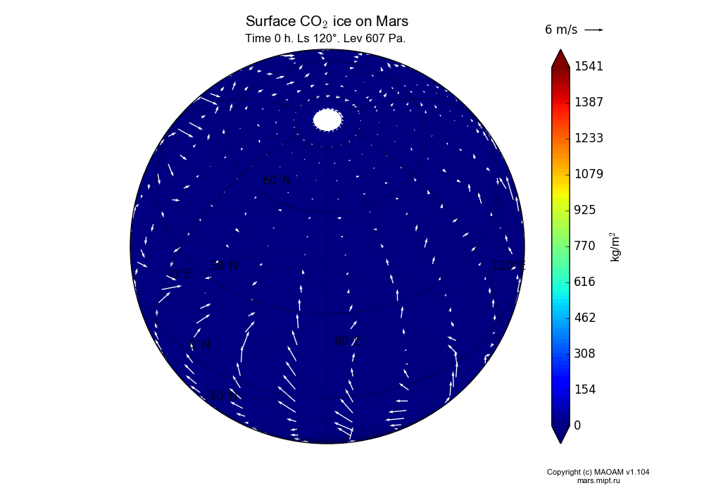 Surface CO2 ice on Mars dependence from Longitude -180-180° and Latitude -90-90° in Spherical stereographic projection with Time 0 h, Ls 120°, Height 607 Pa. In version 1.104: Water cycle for annual dust, CO2 cycle, dust bimodal distribution and GW.